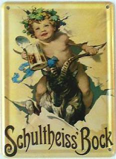 Schultheiss Bock Mini Blechschild - Vorschau