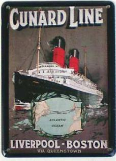 Cunard Line Liverpool Boston Mini-Blechschild