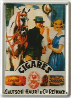 Cigares Gautschi, Hauri & Cie Mini Blechschild - Vorschau