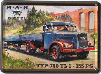 M.A.N. Turbo Diesel Typ 750 Mini Blechschild - Vorschau