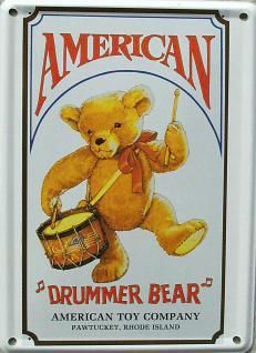 American Drummer Bär Mini Blechschild