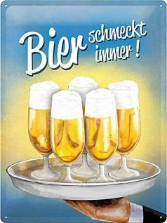 Bier schmeckt immer (Tablett) Blechschild
