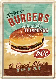 Blechpostkarte Burgers