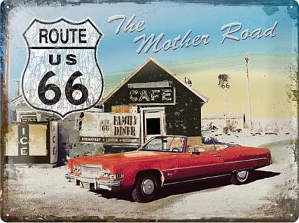 Route 66 The Mother Road (Auto) Blechschild - Vorschau