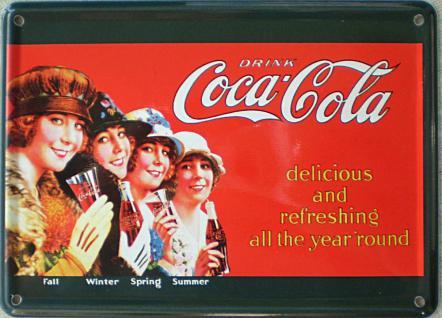 Coca Cola 4 Jahreszeiten Mini Blechschild - Vorschau