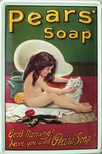 Pears Soap Mädchen mit Katze Blechschild (Stahl) - Vorschau