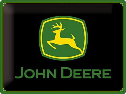 John Deere Logo Black Blechschild