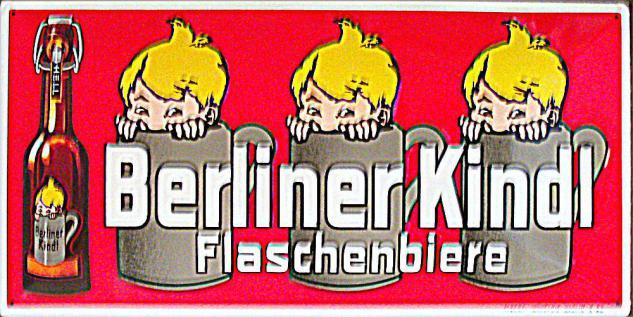 Berliner Kindl Flaschenbiere rot Blechschild - Vorschau