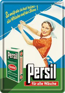 Blechpostkarte Persil - Wäsche auf der Leine