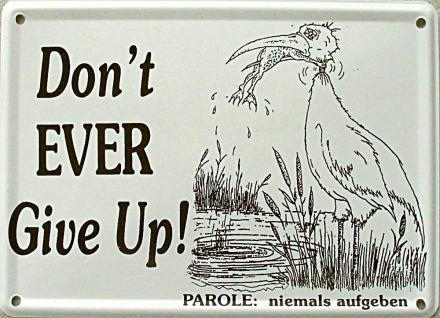 Don't ever give up Mini-Blechschild