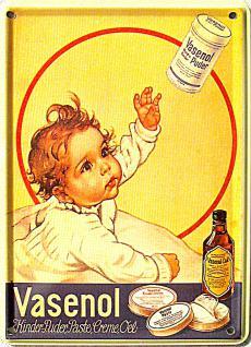 Vasenol Kinderpuder Mini Blechschild - Vorschau