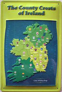 The Country Crests of Ireland - Celtic Whiskey Shop Blechschild