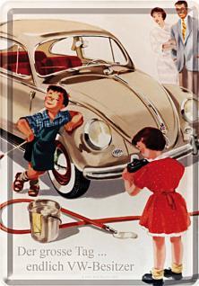 Blechpostkarte VW der große Tag - Vorschau