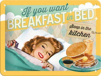 50's - Breakfast in bed Blechschild - Vorschau