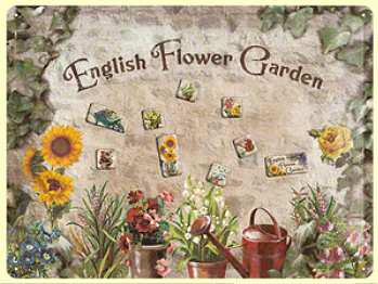 Magnet-Tafel English Flower Garden Blechschild
