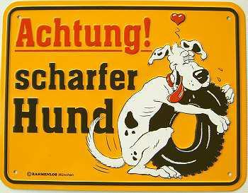 Funschild Achtung scharfer Hund