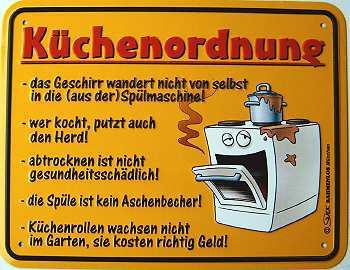 Funschild Küchenordnung - Vorschau