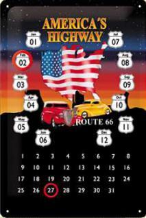 Route 66 Americas Highway Kalender Blechschild - Vorschau