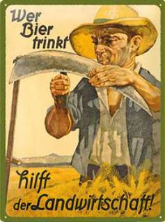 Wer Bier trinkt hilft der Landwirtschaft Blechschild - Vorschau