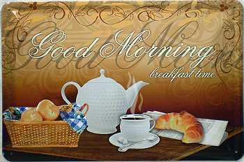 Good Morning Breakfast Time Blechschild - Vorschau