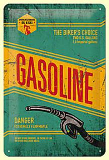 Gasoline Blechschild