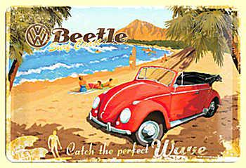 VW Beetle - Catch the perfect wave Blechschild