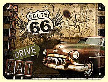 Route 66 - Road Trip Blechschild