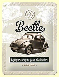 VW Retro Beetle Blechschild (15 x 20 cm)