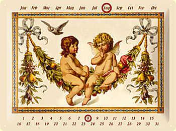 Pfunds Engel Kalender Blechschild - Vorschau