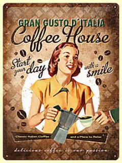 Coffee House Lady Blechschild