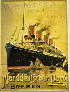 Norddeutscher Lloyd Ostasien-Australien Blechschild - Vorschau
