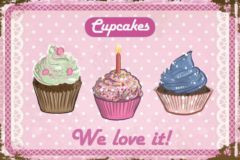 Cupcakes - We love it Blechschild