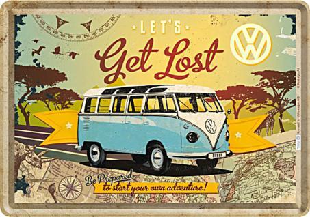 Blechpostkarte VW - Bulli let's get lost