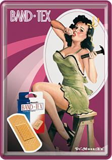 Blechpostkarte Band-Aid Pin Up Girl