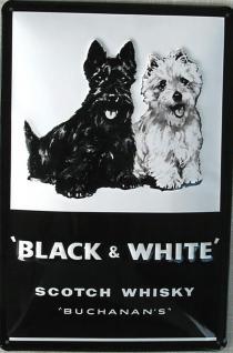 Black & White Whisky sw Blechschild