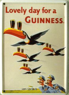 Guinness fliegende Tukane Mini Blechschild