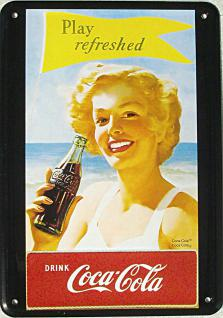 Blechpostkarte Coca Cola - Play Refreshed