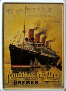 Norddeutscher Lloyd Ostasien Mini Blechschild - Vorschau