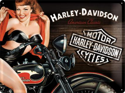 Harley-Davidson - Biker Babe red Blechschild