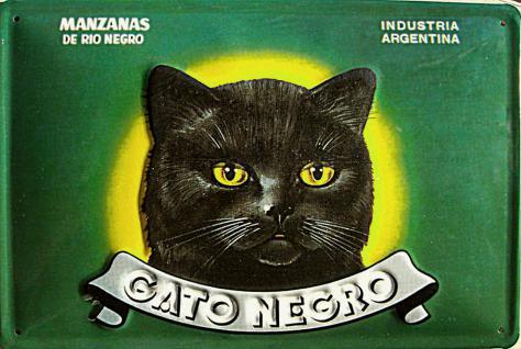 Gato Negro Mancanas Blechschild - Vorschau