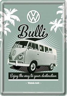 Blechpostkarte VW - Retro Bulli