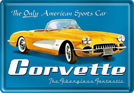 Blechpostkarte Corvette, gelb - Vorschau