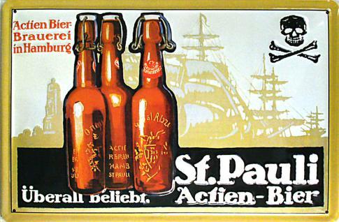 St. Pauli Actien-Bier Blechschild