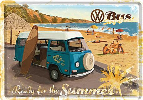 Blechpostkarte VW - Ready for the summer