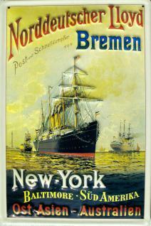 Norddeutscher Lloyd Bremen New York Blechschild