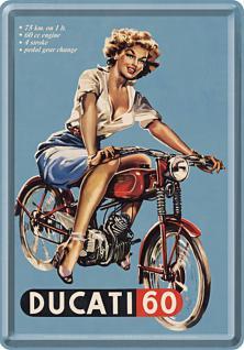 Blechpostkarte Ducati Pin Up Girl - Vorschau