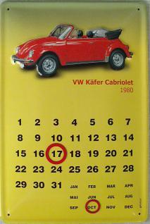 VW Käfer Cabrio 1980 Kalender Blechschild
