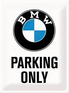 BMW - Parking Only white Blechschild, 30 x 40 cm - Vorschau