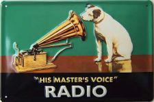 His Masters Voice, grün Blechschild