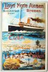 Norddeutscher Lloyd Bremen Cuba Blechschild
